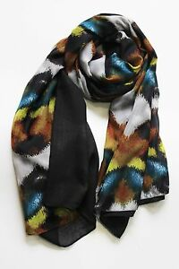 Echo Design Brown Black Yellow Textured Waves Double Scarf Wrap $58