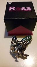ROSA MONCKTON Cocktail STATEMENT Rhinestone ORCHID RING Size P.New/Original Box*