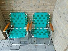 Vintage Aluminum Folding Lawn Chairs Green White Webbing Wood Handles