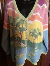 Storybook Knits Sweater Cardigan Pastel Park Gazebo Benches Pond Womens Size L