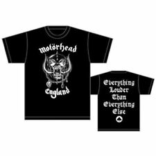 Official Motorhead England Everything Louder T Shirt Black Tee Lemmy Logo