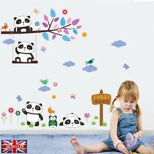 Cute Panda Wall Sticker Birds Flower Tree Nursery Kids Bedroom Vinyl Decal UK