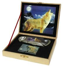 WOLF KNIFE w OIL LIGHTER IN DISPLAY BOX KN487 hunting knives new STAINLESS STEEL