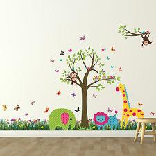 Wall Sticker Tree Kids Nursery Decoration Mural Grass Animals Decal 188cm x156cm