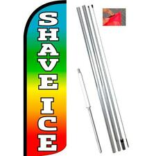 Shave Ice (Multicolor) Windless-Style Feather Flag Bundle 14' OR Replacement Fla
