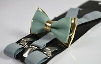 Sage Green Cotton Gold Leather Bow tie + Light Grey Suspenders Baces All Ages