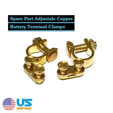 2x Solid Brass Heavy Duty Battery Top Post Cable Terminal Wire Connector Truck