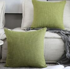 Kevin Textile 2 Packs Throw Pillow Cases Textural Linen Linden Green
