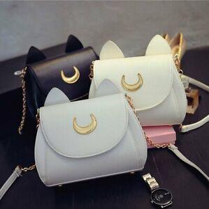 Sailor Moon Luna Cat Ear Women Cross Body Satchel Cosplay Messenger Shoulder Bag