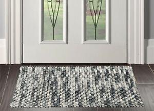 """1'8"""" x 2'8"""" loomBloom Handmade 100% Polyester Mat Area Rug Gray AOR12607 Indoor"""