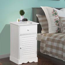 Wood Bedside Cabinets Tables w Storage Drawers Shutter Door Cupboard Nightstands