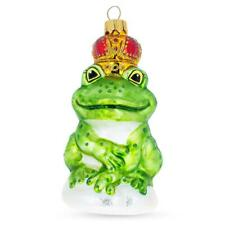 Frog King Mouth Blown Glass Christmas Ornament 5 Inches