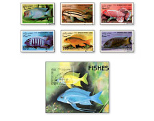 KASAFG98061 Fish 6 STAMPS and block CANCELED AFGANISTAN 1998