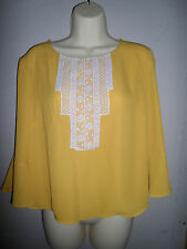 MARKS AND SPENCER LIMITED COLLECTION OCHRE /  MUSTARD TOP WITH LACE SIZE 10