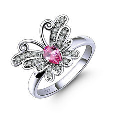 Fashion 4*6mm Ruby Topaz White Gold Filled Butterfly Pink gemstone Ring size 7