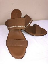 a4bb4b115 NWOB Italian Shoemakers Flex Womens Brown Embellished Wedge Sandals sz 12M