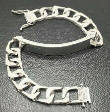 "Men's Boys ID Bracelet STERLING SILVER 10mm 7.5"" Bark Effect 1976 30g PRO REFURB"