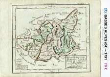 Dépt 04 - XVIII ème Carte Basses Alpes Superbe Gravure Cuivre Aquarellée de 1791