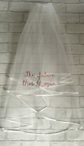 Personalised Hen Party Veil Bride To Be Future Mrs Any Name Party Gift Blush