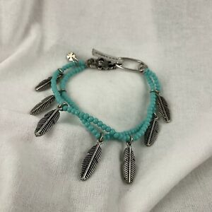 Lucky Brand Bracelet 2 Strand Faux Turquoise Silver Tone Dangles Southwest Boho