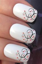 Día de San Valentín Agua Uñas transferencias corazón remolino francés consejos Calcomanías Stickers * 304