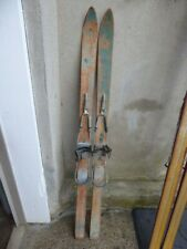 """New listing Vintage Wooden Wood Skis 59"""" All Hickory Cable Bindings crackle patina paint VG"""