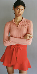 Zara Womens Coral Bermuda Shorts With Bow. Size M. *NEW*
