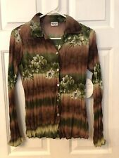 LOVE AMOUR WOMEN'S BROWN?GREEN FLORAL SHEER BUTTON TOP SIZE SS NWT
