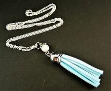 Faux Suede Tassel Necklace Pendant with a Glass Pearl Bead - Light Blue - # 1029