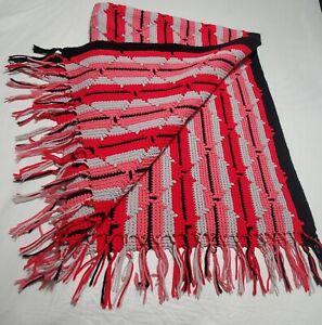 "Vintage Crochet Diamond Pink/Black/Red/Gray Afghan Throw Fringe Blanket 61""x 45"""