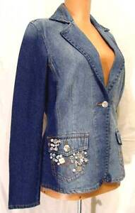 NEW Faded DENIM Fitted Pearl Buttons Charms Embellished TOGETHER Blazer Jacket 4