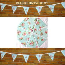 BLUE CHINTZ DITSY BUNTING / GARLAND - PVC / OILCLOTH - 3 METRES