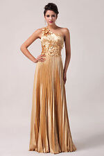 Gold Formal Evening Party Prom Dress Ball Gown Long Bridesmaid Dress WeddingFull