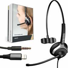 Headset 1-Ohr mit 3,5mm Klinke und Lightning-Adapter für iPhone, Smartphone, etc