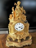 Antique French Mantel Clock Ormolu (mercury gilt) bronze Poton Paris