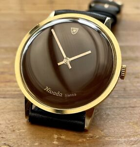 Vintage Men's 1960's NIVADA *Chocolate Dial* Swiss-Made Mechanical. 34mm