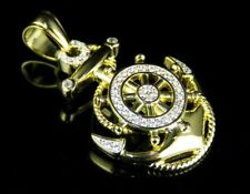 Men's Yellow Gold Finish Sterling Silver Lab Diamond Anchor Pendant Charm 1.5""