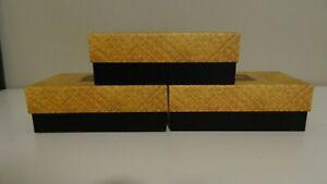"""3 Maui Jim Glasses Boxes Yellow & Black Weaving Basket Pattern 6.5"""" x 3.5""""x2.25"""""""