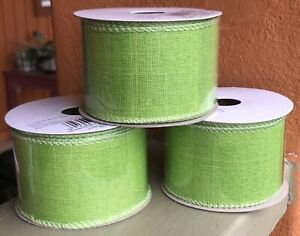 Offray Lot Of 3 Linen Ribbon Apple Green 2in X 9ft