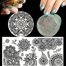 Flowers Nail Art Stamping Image Plates Template Stamper W/Cap & Scraper Kit Set