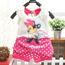 2Pcs Girls Baby Kids Bow Minnie Printed T-shirt Tops + Shorts Summer Clothes Set