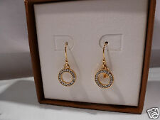 New COACH Pave Circle Drop Earrings Gold w/ Crystals in Gift Box 90302