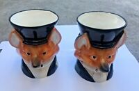 Fitz And Floyd Fox Mugs - Pair-rare-vintage-hand painted 80's unique-CERAMIC