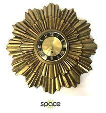 STUNNING VINTAGE GOLD METAL 8-DAY JEWELED SUNBURST WALL CLOCK - FREE SHIPPING -