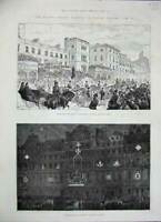 Old Antique Print 1887 Queen Jubilee London Pall-Mall Grosvenor Prince 19th