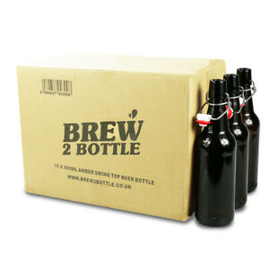 Pack of 15 x 500ml Brew2Bottle Glass Amber Swing Top Beer Bottles