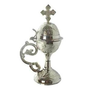 Nickel Plated Censer Incense Burner with Cross Christian Orthodox free shipping!