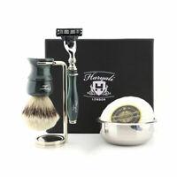 Silvertip Hair Brush - Mens Wet Shaver 5Pcs Set - Beard Hair Clean Shaving Razor