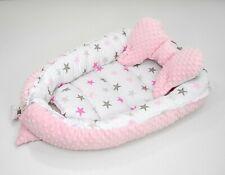 2 tlg.(SET) Kuschelnest Babynest Nestchen Reisebett  Baumwolle/Minky Sterne Rosa
