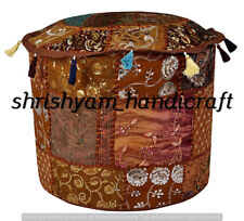 """22"""" Embroidered Handmade Multi Patchwork Footstool Home Decor Ottoman Pouf Cover"""